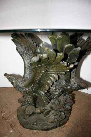 Bronze Eagle Table With Glass Top