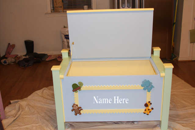 Custom Made Boys Toy Box - Solid Wood - Hand Painted
