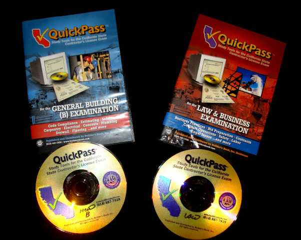 Quick Pass California Contractors License Exam Prep Books & Cds