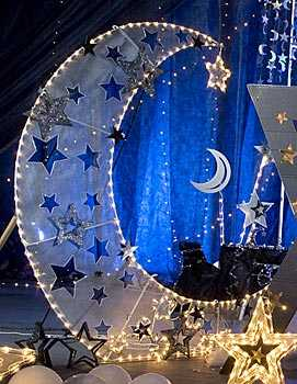 All Types Party Decorative Lighted Moon Background And Curtain
