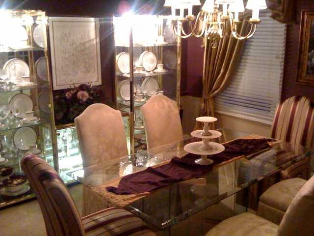 Glass China Cabinet And Dining Room Table