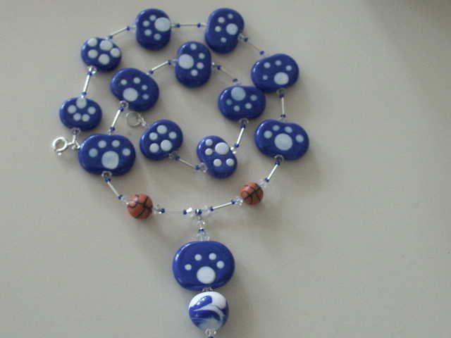 Uk Blue & Whit Paw Print Necklace