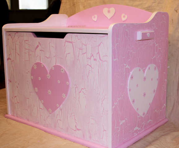 Girls New Toy Box - Solid Wood - Pink & White - Crackled