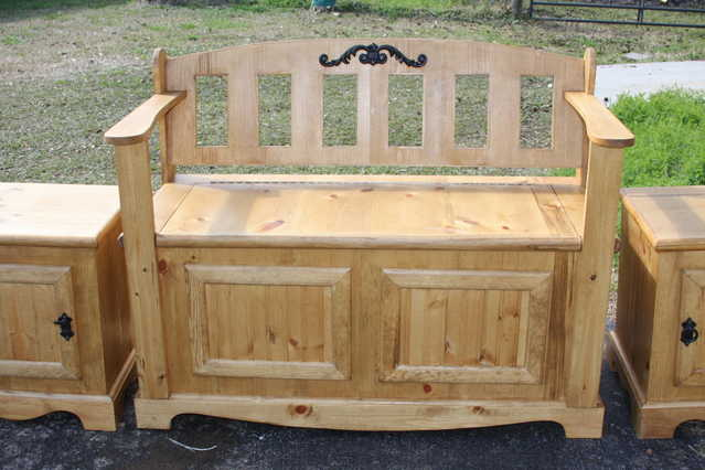 New - Custom Made - Rustic Patio Bench Set W / 2 End Tables - Solid Wood