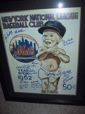 1962 Framed Mets Year Book Poster W / 20 Hand Signed Autographs!