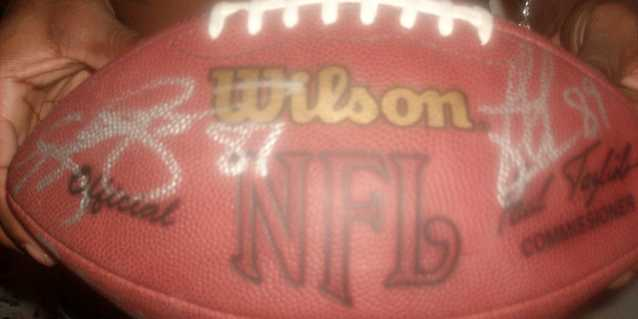 Nfl Football Autographed By 6 Players
