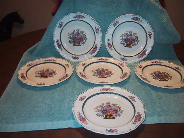 Set Of 6 Wedgwood Floral Plates Est. Circa Late 1800's