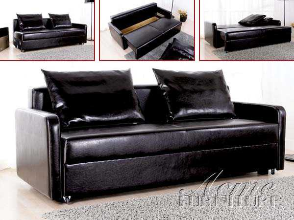 Black Finish Adjustable Sofa