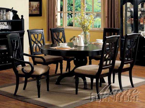 Black Finish Pedestal Dining Table Set