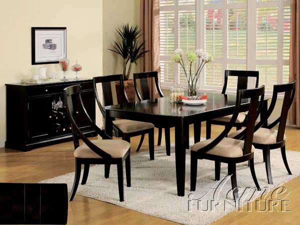 Black Finish Dining Table Set