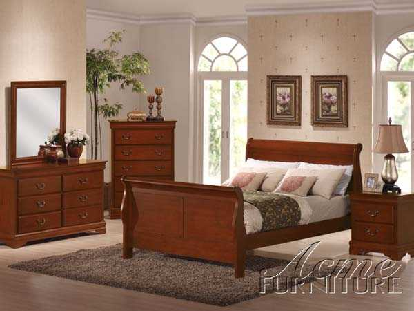 Cherry Oak Finish Cal King Bedroom Set