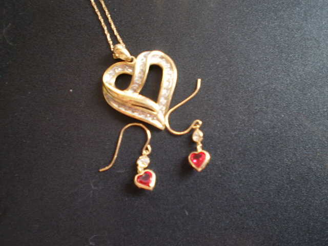 10k Gold / Diamond Heart Necklace And Ruby / Diamond Heart Earrings