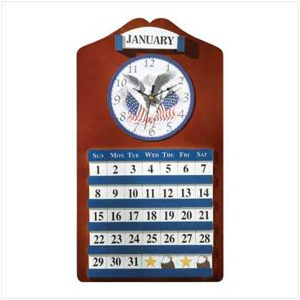 #35749 American Eagle Clock And Calendar
