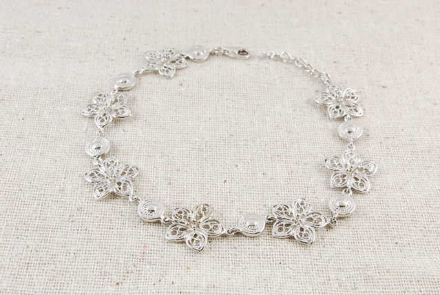 Flourishing Sukura Flower High - End Sterling Silver Bracelet - $46