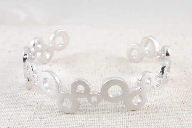 Solid Floating Bubble High - End Sterling Silver Bangle - $69