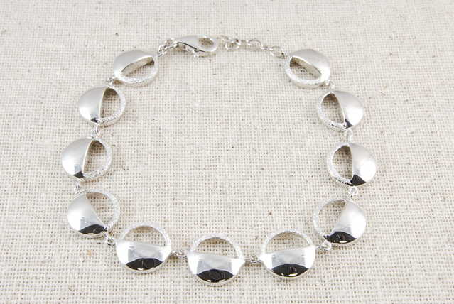 High - End Circle Rhodium Sterling Silver Bracelet - $60