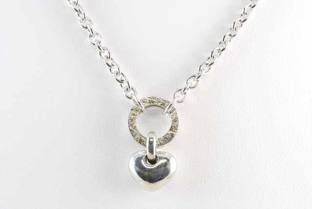 High - End Rhodium Sterling Silver Heart Necklace - $95
