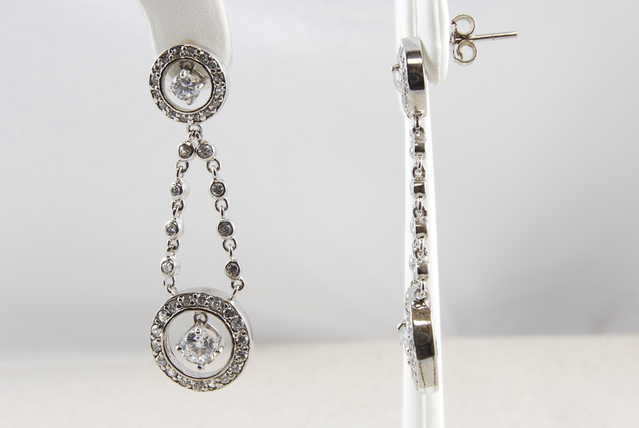 High - End Rhodium Sterling Silver Cz Earrings - $46