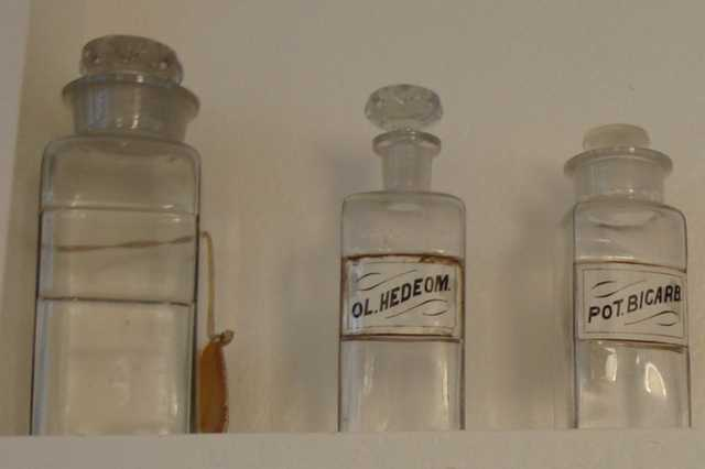 Antique Pharmeceutical Glass Jars With Lids