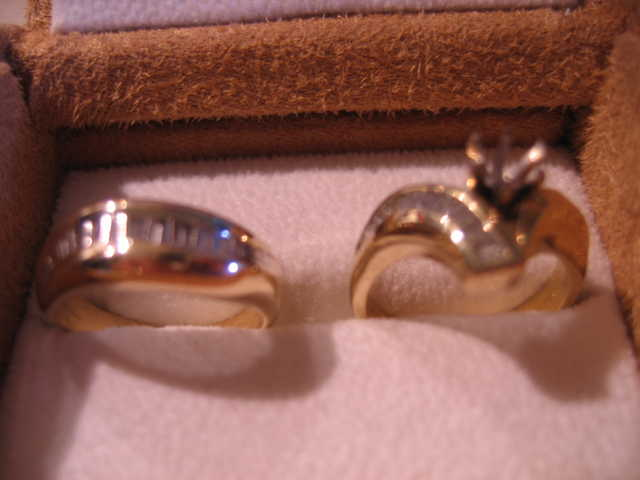 Ladies Wedding Ring And Band Set - 18k And 14k With Baggetts