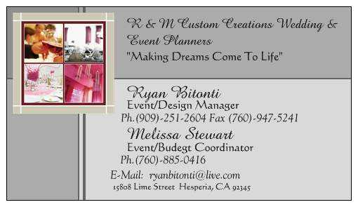R & M Custom Creations Wedding And Event Planners