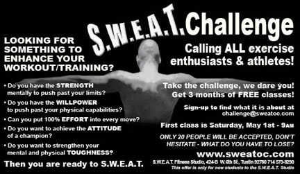 S. W. E. A. T. Fitness Challenge, 3 Mos. Free Classes, Starts May 1st
