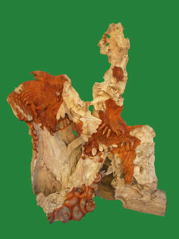 Solid Teak Root Double Eagle Sculpture