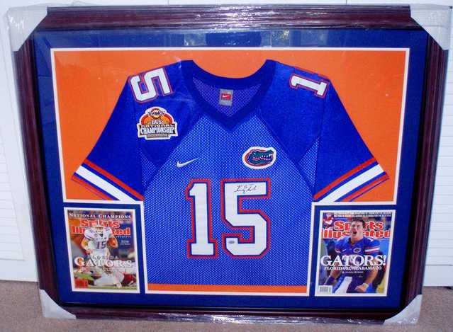 Tim Tebow Autographed Jersey In Frame