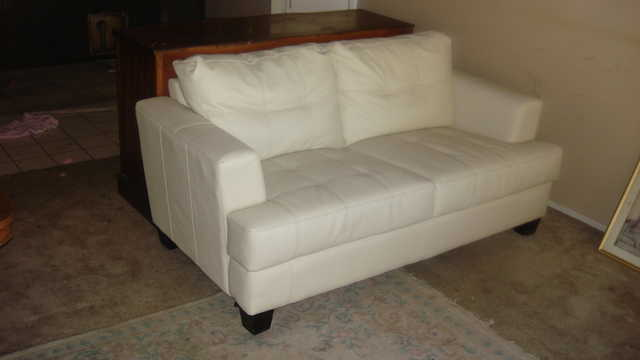 Beautiful (Off White - Bonded Leather Love Seat - $65
