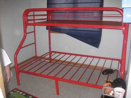 Tubular Red Bunk Beds Twin On Top And Full On Bottom