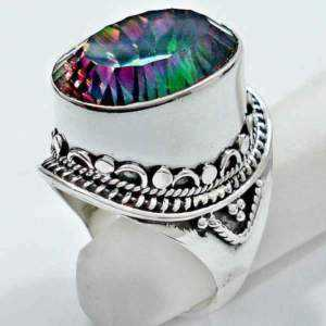 Brand New Sz 7 Huge 27 Cttw Mystic Topaz & Solid 925 Silver Ring
