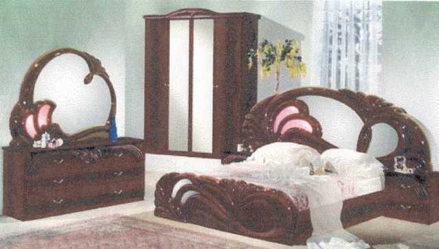 Italian Bedroom Set Mahogany Finish
