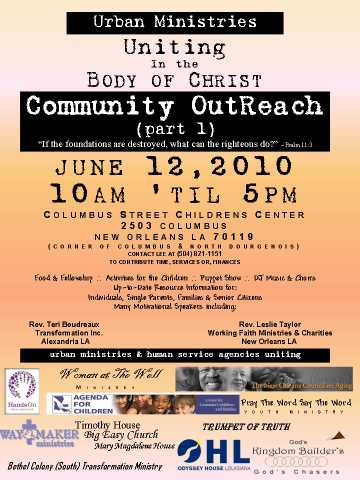 Community Outreach:urban Ministries Uniting In The Body Of Christ