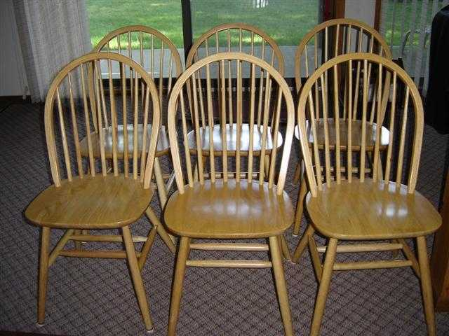 6 Light Oak Spindle Back Chairs