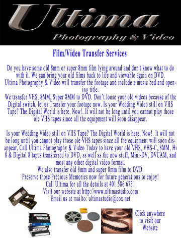 Film Transfer Services Ri, Video Transfer Services Ri