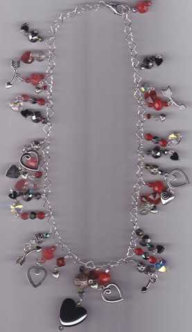 Sterling Silver Heart Necklace With Dangles