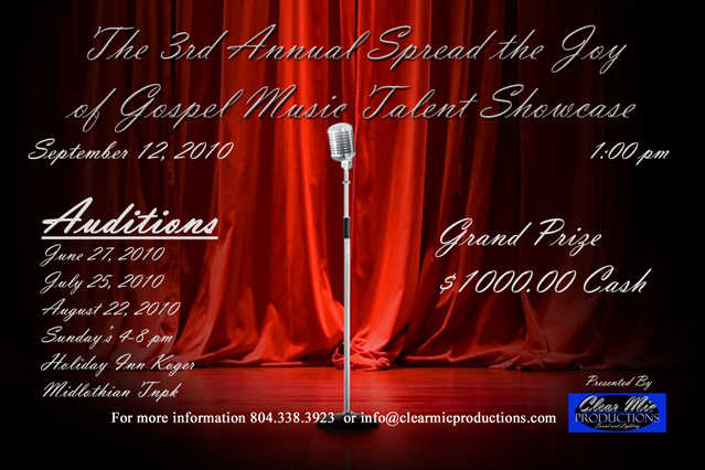 Auditions For Spread The Joy Of Gospel Music Talent Showcase