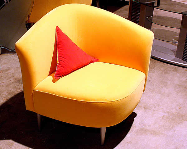 50% Off Sunshine Yellow Microfiber Triangle Shape Accent Chair