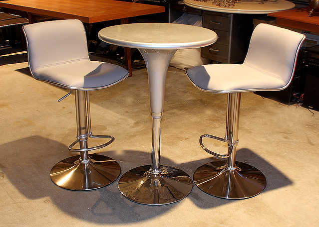 New - Dove Gray Adjustable Bar Table And 2 Swivel Adjustable Stool