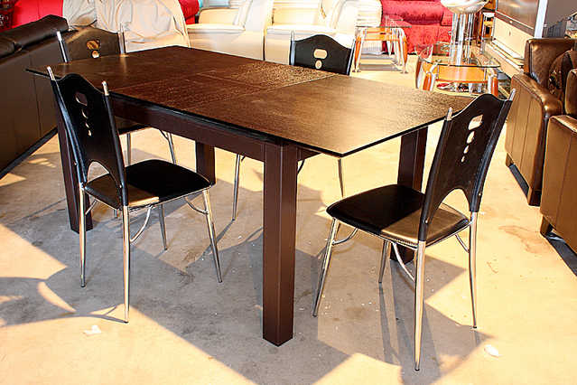 New - 50% Off Espresso Extension Table With Legs Wrapped In Leather