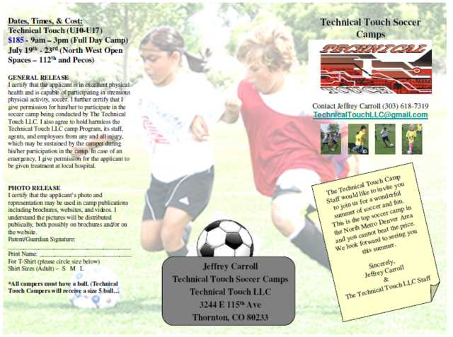 Soccer Camp (July19 - 23) Technical Touch