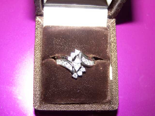 14k White Gold Diamond Wedding Set Puzzle Ring - $1500