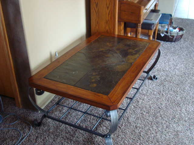 Solid Wood And Iron Table With Slate Inlay Top
