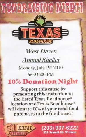 Texas Roadhouse Fundraiser For The Animals