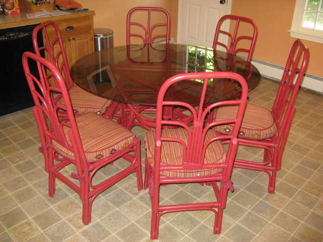 Rattan 6 Chairs Dining Room Set