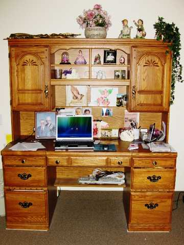 Beautiful Oak Desk With Matching Hutch, $395
