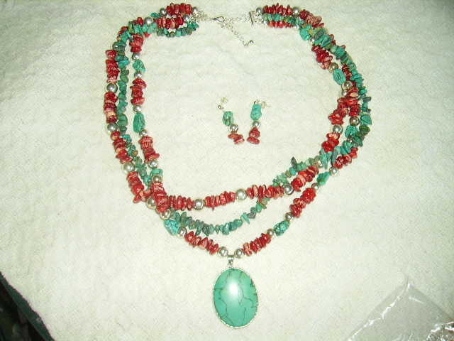 Coral, Silver And Turquoise Necklace Set