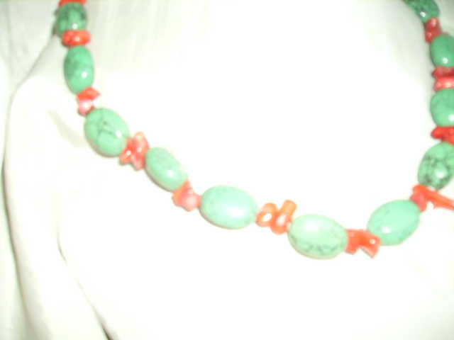 Green Turquoise And Red Coral Necklace