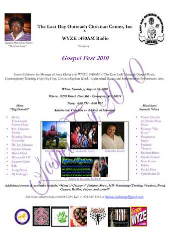 Wyze 1480am Radio Gospelfest 2010