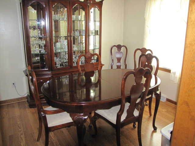 Solid Cherry Dining Set With Chest Of Drawers & Hutch